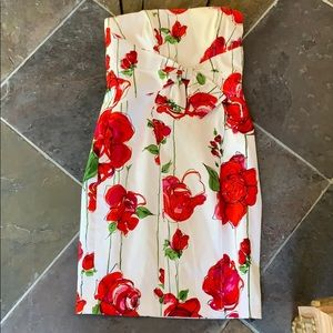 David Meister Strapless Roses with Bow Dress